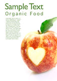 Organic apple with heart cutout. Delicious fresh red organic apple with a heart cutout to show your appreciation of organic food and copyspace for your text stock images
