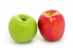 Organic apples. Organic Granny Smith and Gala apples on white background Royalty Free Stock Images