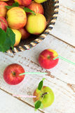 Organic apples in basket, healthy lifestyle concept Stock Images