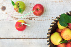 Organic apples in basket, healthy lifestyle concept Royalty Free Stock Images