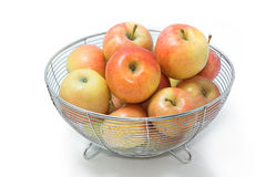 Organic apples in basket isolate Royalty Free Stock Photos