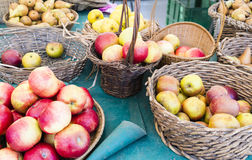 Organic apples in baskets in market, Paris, France stock image