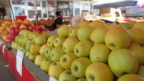 Organic apples at the market stock video