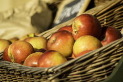 Organic apples on the market Stock Photography