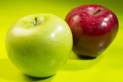 Organic apples. Red apple and green apple royalty free stock photography