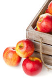 Organic apples in wooden box Stock Photography