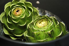 Organic Artichokes. Prepared for cooking Royalty Free Stock Image