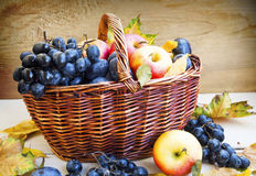 Organic autumn fruits in basket with dried leaves Royalty Free Stock Photos