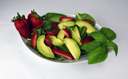 Organic Avocado Strawberry Spinach Salad Royalty Free Stock Images