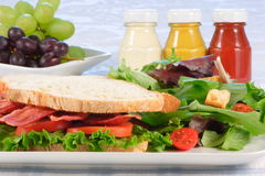 Organic b.l.t sandwich. Very well made sandwich whit fresh vegetables and grapes Stock Photos