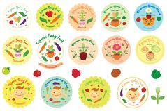 Organic Baby Food Vector Illustration, Icon, Logo and Badge. For many purpose such as food industry, print on clothes, stationery, bag, purse, clothes, etc. EPS Stock Illustration