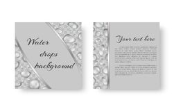 Flyer with droplets. Organic background design for greeting card, leaflets with bright drops of dew for environmental protection measures Stock Images
