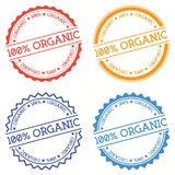 100% Organic badge isolated on white background. Flat style round label with text. Circular emblem vector illustration Royalty Free Stock Photos