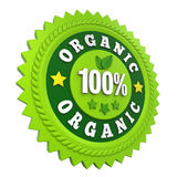 100% Organic Badge Label Isolated Stock Photography