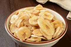 Organic banana chips Royalty Free Stock Image