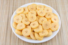 Organic Banana slices. Organic Banana slices on plate Stock Photo