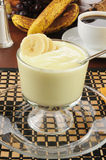 Organic banana yogurt Royalty Free Stock Images