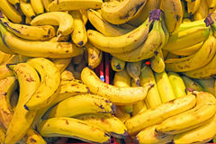 Organic bananas in a market stall Stock Photo