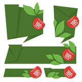 Organic banners. Fresh, organic and green,  collection of labels, stickers and banner template design Stock Photography