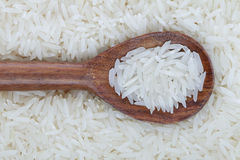 Organic Basmati Rice and Wooden Spoon Stock Photography