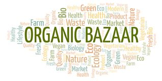 Organic Bazaar word cloud. Organic Bazaar word cloud, wordcloud made with text only stock illustration