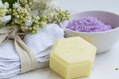 Organic beauty spa with natural thyme soap and cotton towels, ba Stock Photos