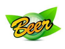 Organic Beer poster sign seal illustration Stock Photography