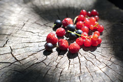 Organic berries on wooden background Royalty Free Stock Image