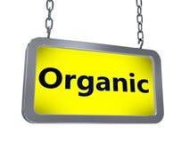 Organic on billboard. Organic on yellow light box billboard on white background Stock Photography