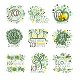 Organic, bio, farm fresh, eco, healthy food set for label design. Ecology, nature vector Illustrations Stock Photo