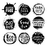 Organic Bio Food Black And White Label Set. Organic Bio Food Black And White Set Of Product Logo Design. Cool Flat Vector Design Template On White Background Royalty Free Stock Photography