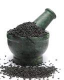 Organic Black Sesame & x28;Sesamum indicum& x29; on marble pestle. Stock Images