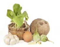 Organic Bok Choy and fresh food  on white Royalty Free Stock Photo