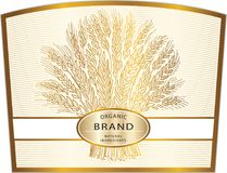 Organic Brand Natural Ingredients Cereal label, brand icon or lo. Cereal label, brand icon or logo template. Hand drawn wheat sheaf on beige background with vector illustration