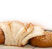 Organic bread over rustic table Royalty Free Stock Photos