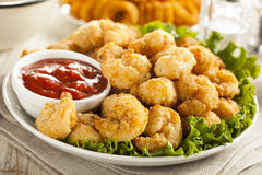 Organic Breaded Popcorn Shrimp Stock Photos