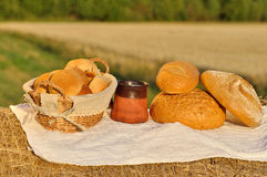 Organic breakfast concept with milk and bread Stock Photo