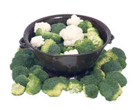 Organic broccoli and cauliflower in berry bowl. On white background Royalty Free Stock Photography