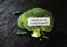 Organic broccoli label Royalty Free Stock Photos