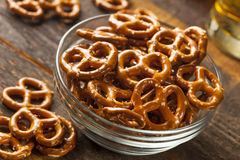 Organic Brown Mini Pretzels with Salt stock photo