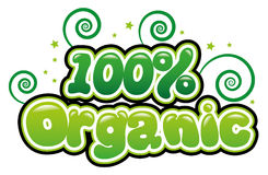 100% Organic. In bubble font Stock Photo