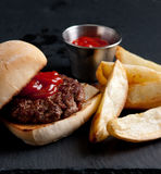 Organic burger with fries Stock Photography