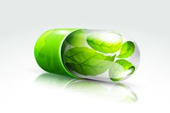 Organic Capsule. Vector illustration of organic capsule with green leaf inside Royalty Free Stock Photography