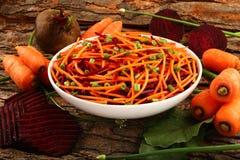 Organic  carrot and beetroot salad Stock Photos