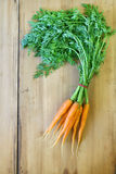 Organic carrots. Fresh organic carrots with leaves on a wooden background Stock Image