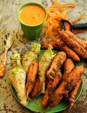 Organic carrots and carrot juice for a healthy breakfast Stock Photo