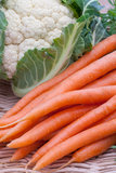 Organic Carrots and Cauliflower Royalty Free Stock Photos