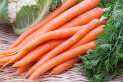 Organic Carrots and Cauliflower Stock Photo