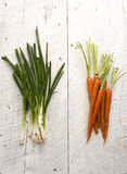 Organic Carrots and Leaks Royalty Free Stock Photos