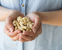 Organic Cashews. The hands of a woman holding whole cashew nuts Stock Photos